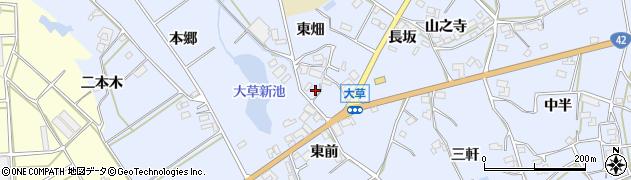 愛知県田原市大草町(東前)周辺の地図