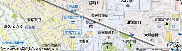 八尾妙法寺周辺の地図