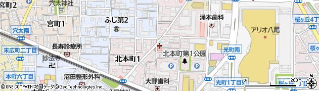 大阪府八尾市北本町周辺の地図