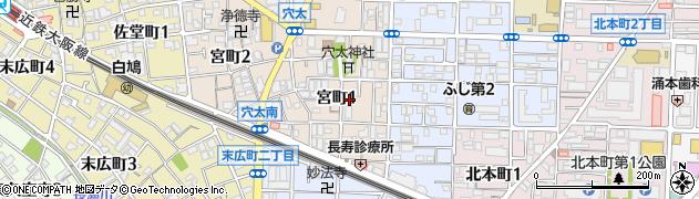 大阪府八尾市宮町周辺の地図