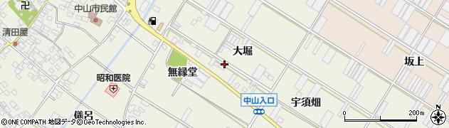 愛知県田原市中山町(大堀)周辺の地図