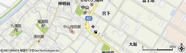 愛知県田原市中山町(宮下)周辺の地図