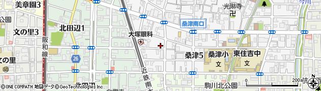 大阪府大阪市東住吉区桑津5丁目周辺の地図