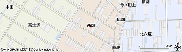 愛知県田原市福江町(西畑)周辺の地図