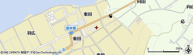 愛知県田原市高木町(東原)周辺の地図