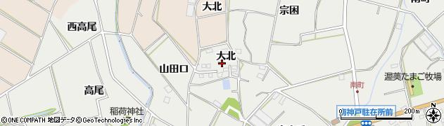 愛知県田原市南神戸町(大北)周辺の地図