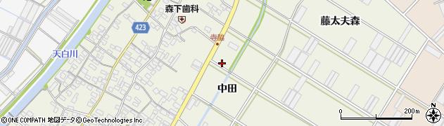 愛知県田原市中山町(中田)周辺の地図