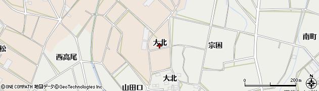 愛知県田原市西神戸町(大北)周辺の地図