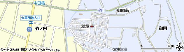 愛知県田原市大草町(糠塚)周辺の地図