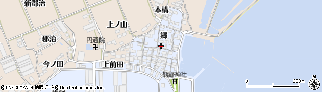 愛知県田原市向山町(郷)周辺の地図