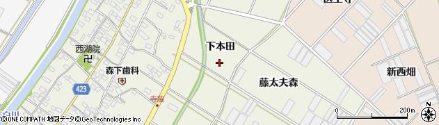 愛知県田原市中山町(下本田)周辺の地図