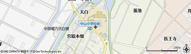 愛知県田原市中山町(天白)周辺の地図