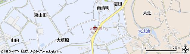 愛知県田原市大草町(南清明)周辺の地図