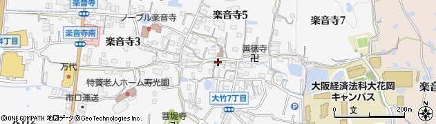 大阪府八尾市楽音寺周辺の地図