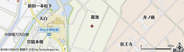 愛知県田原市中山町(菱池)周辺の地図