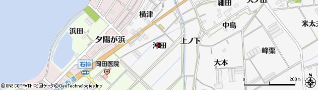 愛知県田原市伊川津町(沖田)周辺の地図