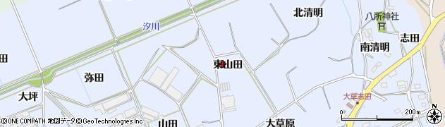 愛知県田原市大草町(東山田)周辺の地図