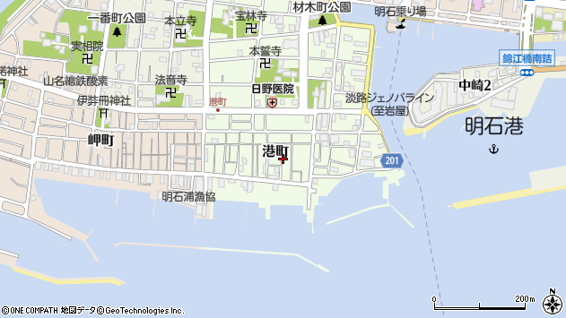 〒673-0894 兵庫県明石市港町の地図