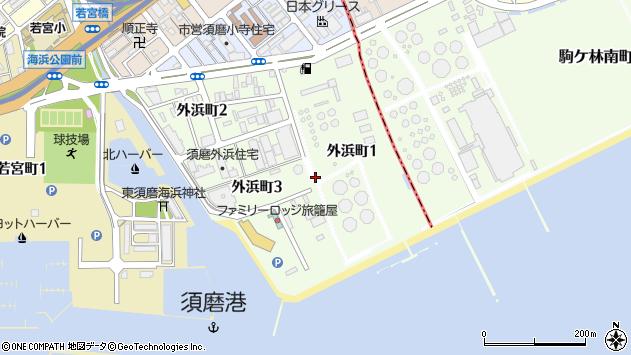 〒654-0043 兵庫県神戸市須磨区外浜町の地図