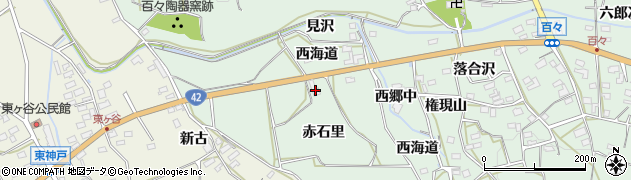 愛知県田原市六連町(赤石里)周辺の地図