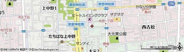岡山県岡山市北区大元周辺の地図