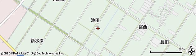 愛知県田原市大久保町(池田)周辺の地図