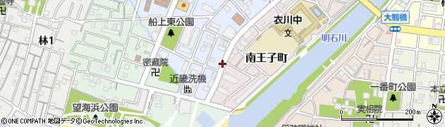 兵庫県明石市南王子町周辺の地図