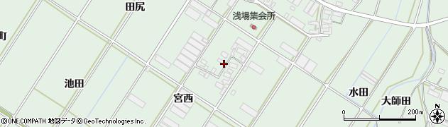 愛知県田原市大久保町(宮西)周辺の地図