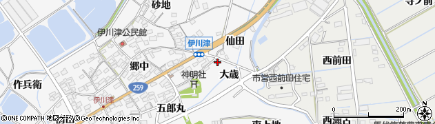 愛知県田原市伊川津町(大歳)周辺の地図