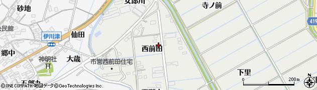 愛知県田原市江比間町(西前田)周辺の地図