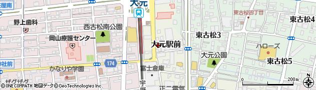 岡山県岡山市北区大元駅前周辺の地図