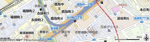 市バス須磨車庫前周辺の地図