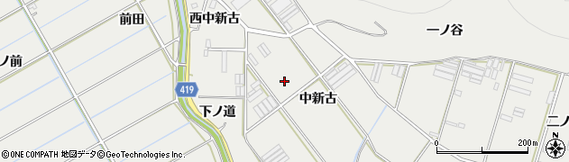 愛知県田原市江比間町(中新古)周辺の地図