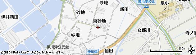 愛知県田原市伊川津町(東砂地)周辺の地図