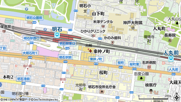 〒673-0886 兵庫県明石市東仲ノ町の地図