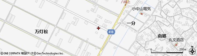 愛知県田原市小中山町(万灯松)周辺の地図