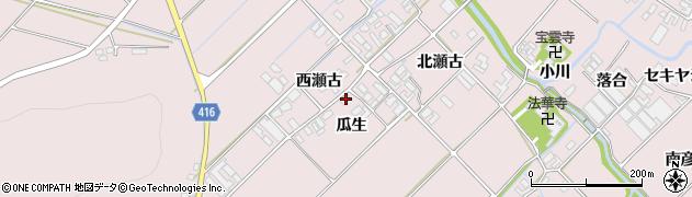 愛知県田原市野田町(瓜生)周辺の地図
