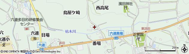 愛知県田原市六連町(西高尾)周辺の地図