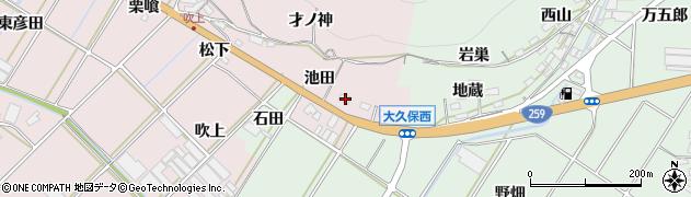 愛知県田原市野田町(池田)周辺の地図