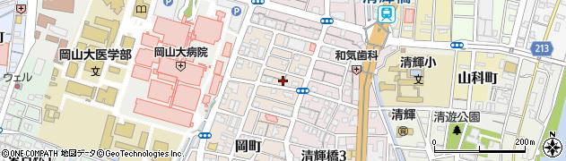 岡山県岡山市北区岡町周辺の地図