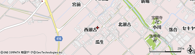 愛知県田原市野田町(西瀬古)周辺の地図