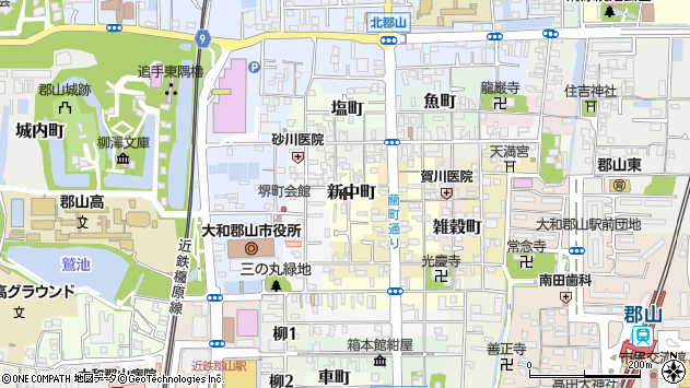 〒639-1157 奈良県大和郡山市新中町の地図