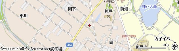愛知県田原市西神戸町(岡下)周辺の地図