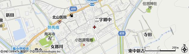 愛知県田原市江比間町(二字郷中)周辺の地図
