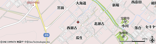 愛知県田原市野田町(堂地)周辺の地図