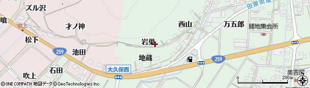 愛知県田原市大久保町(岩巣)周辺の地図