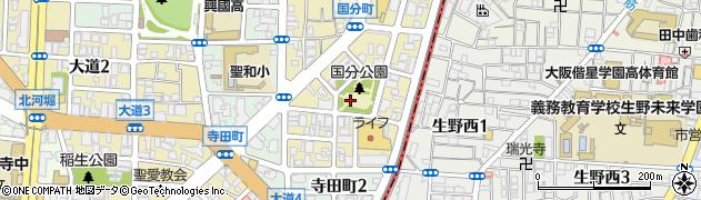 大阪府大阪市天王寺区国分町周辺の地図