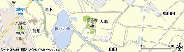 愛知県田原市神戸町(大池)周辺の地図