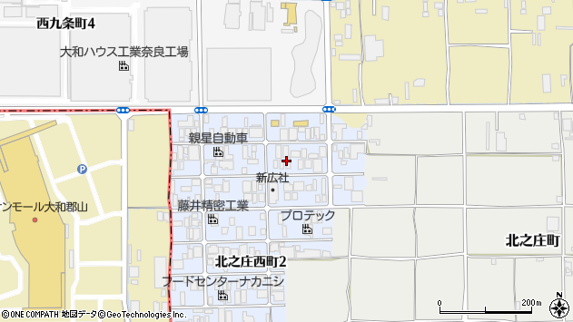 〒630-8452 奈良県奈良市北之庄西町の地図