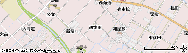 愛知県田原市野田町(西彦田)周辺の地図